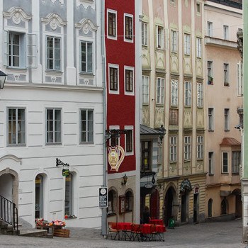 Barokk arkitektur i gamlebyen i Linz, Østerrike.