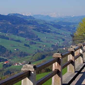 Utsikten fra Sonntagberg basilikaen, Mostviertel, Niederösterreich, Østerrike.
