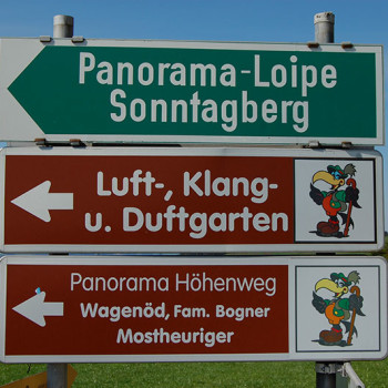 Skilting langs Mostviertel Panaromastrassa, Niederösterreich, Østerrike.