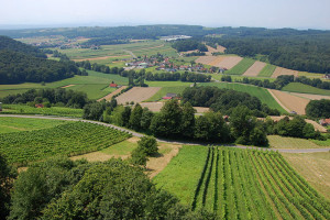 Utsikt over Vulkanland fra St. Peter am Ottersbach, Steiermark, Østerrike.