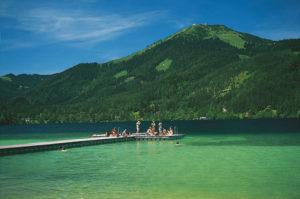Badeferie, Erlaufsee i nærheten av Mariazell, Niederösterreich, Steiermark, Østerrike