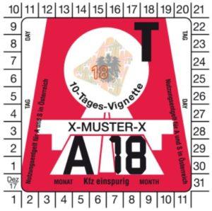 Vignette, veiavgifter og bompenger, Østerrike