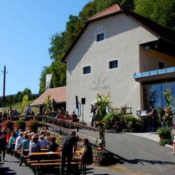 På drueinnhøstingfest i Klöch, Steiermark, Østerrike