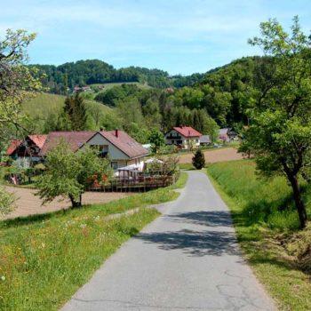 På vinvandring gjennom et vakkert kulturlandskap i Steiermark, Østerrike